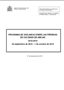 Portada de Programa de vigilancia sobre las pérdidas de colonias de abejas 2018-2019