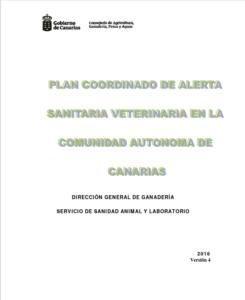 Portada de Plan coordinado de Alerta Sanitaria Veterinaria en la Cdad. Aut. de Canarias