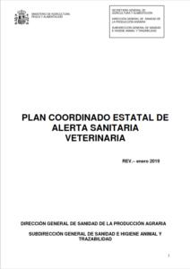 Portada de Plan coordinado estatal de alerta sanitaria veterinaria